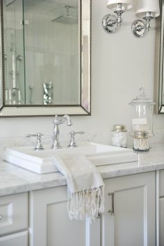 Even if the bathroom sink is small, you can get creative with it. These bathroom sink design ideas are going to offer you all the value and benefits you need, and you will be very excited with the experience and great features. Small Bathroom Sinks, Bathroom Renos, Bathroom Fixtures, Master Bathroom, Bathroom Ideas, Top Mount Bathroom Sink, Bathroom Staging, Retro Bathroom Decor, Bathroom Marble