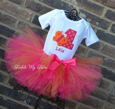Butterfly Themed (Dark Pink and Orange) Birthday Tutu Outfit, Butterfly Birthday Party