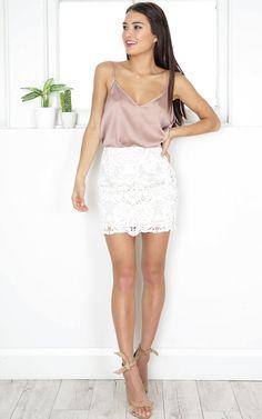 showpo, showpo skirt, white, white skirt, skirt