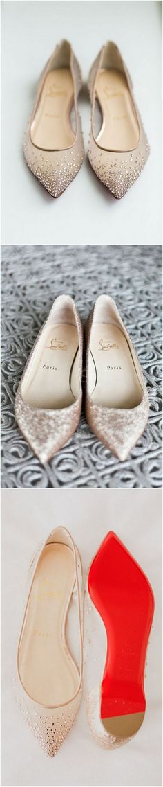 Christian Louboutin Elegant flat bridal wedding shoes  #wedding #weddingshoes #weddingflats