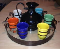 California Pottery Gladding McBean Franciscan El Patio coffee set with original matchingiron and glass tray made exclusively for El Patio. These trays are quite rare. Art Nouveau, Bauer Pottery, Second Hand Stores, Kitchen Ware, Glass Tray, Deco Furniture, California Style, Coffee Set, Patio Table