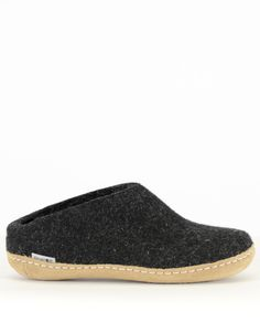 """Gerlups Women's Wool Slipper Leather Sole Charcoal  • Perfect indoor shoes • 100% Pure Gotland Sheep Wool Upper • 100% Pure calf skin leather sole • Designed in Denmark • Handmade in Romania • Shoes may """"shed"""" during first days of use"""