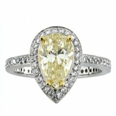 SES Creations Fancy Yellow Pear Shape & Pave Diamond Ring
