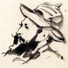 Claude Monet. Manet. 1874-1880. Indian ink wash. 170 x 135 mm. Musée Marmottan Monet. Paris.