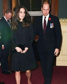 William and Catherine today, 12th November 2016,at Royal Albert Hall to attend the Remembrance Festival ❤