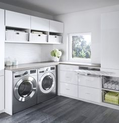 Organize your laundry room with custom cabinets and shelves designed by California Closets. Get inspired by our laundry room storage ideas and designs. Schedule a free consultation today! Laundry Room Remodel, Basement Laundry, Laundry Closet, Laundry Room Organization, Laundry Hamper, California Closets, Toilette Design, Modern Laundry Rooms, Laundry Room Inspiration