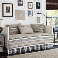 Stone Cottage Fresno Neutral Striped Cotton Daybed Bedding Set 202218 - The Home Depot Daybed Cover Sets, Daybed Sets, Beach Bedding Sets, Coastal Bedding, Bedding Decor, Luxury Bedding, Coastal Quilts, Best Daybeds, Daybed Comforter