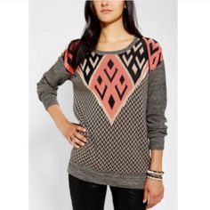Ecote sweater Urban Outfitters Ecote Intarsia Pullover Sweater. Size medium. 60% cotton, 40% rayon. No signs of wear- only worn a few times. Urban Outfitters Sweaters Crew & Scoop Necks