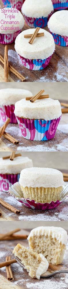 Sprinkles Triple Cinnamon Cupcakes | A moist, cinnamon spiced cake with cinnamon cream cheese frosting all rolled in cinnamon sugar!!!! #copycat #recipe #cinnamonsugar #cupcakes