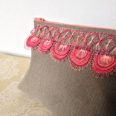 Items similar to Zipper pouch - kaki, orange, red / Nanduti etui - kaki, oranje, rood on Etsy Teneriffe, Pouch Bag, Zipper Pouch, Passementerie, Running Stitch, Needle Lace, Embroidery Techniques, Ribbon Embroidery, Embroidered Lace