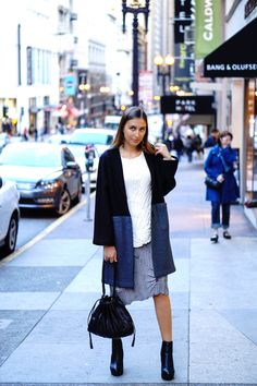 BABETTE color-blocked black/charcoal coat, rainbow pleat cream top, A-lane gray skirt and black leather lupo abanico handbag | H&M platform boots and long metal covered earrings   More pics: http://hidemycoat.blogspot.com/2015/12/merge-with-city.html