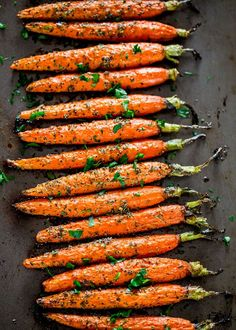 Garlic and Herb Roasted Carrots – these carrots are roasted to perfection with lots of garlic and herbs such as thyme, basil and oregano, creating the perfect side dish.