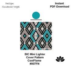 peyote pattern,lighter pattern pdf, #007FN,DIY,BIC lighter cover pattern, mini lighter cover pattern,instant pdf download,digital file