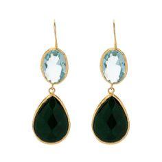 Blue Quartz and Emerald Earrings