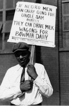 This picture shows an African-American worker fighting against job discrimination.