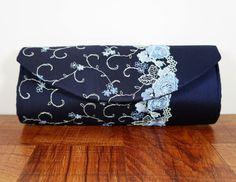 Navy blue clutch silk clutch purse lace clutch bag by toriska