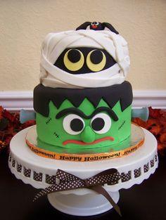 Frankenstein, mummy and spider cake