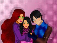 family by georgetarts on DeviantArt Robin Starfire, Nightwing And Starfire, First Robin, Dc Couples, Original Teen Titans, Richard Grayson, Teen Titans Fanart, Stars At Night, Star Night