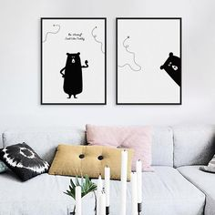 Modern Kawaii Bear Bee Motivational Quotes Canvas A4 Art Prints Black White Big Wall Pictures Kids Room Decor Painting No Frames