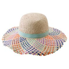 Enjoy an afternoon at the beach or by the pool with this resort-worthy sun hat, showcasing a woven lala straw design and lovely pastel palette. ...