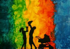Made this melted wax crayon art for my new born niece - Saesha