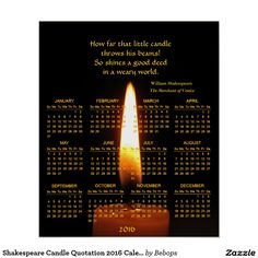 Shakespeare Candle Quotation 2016 Calendar Poster