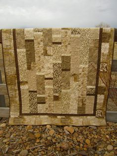 Handmade Quilt Contemporary Neutral by PatchworkMountain on Etsy, $175.00