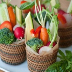 Cute way to display vegetables - would be perfect for a wedding or party instead of a veggie tray everybody gets one of these cuties