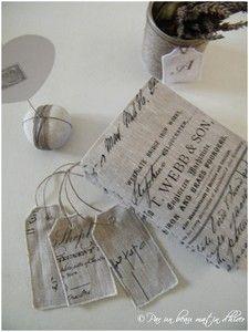 tags de lino estampados