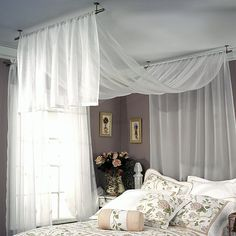 How to hang curtain rods hang curtain rod from ceiling com bedroom decor with hanging curtains designs installing curtain rods over vertical blinds Ceiling Mount Curtain Rods, Hanging Curtain Rods, Ceiling Curtains, Wall Drapes, Bedroom Ceiling, Sloped Ceiling, Fabric Ceiling, String Curtains, Drapery Rods