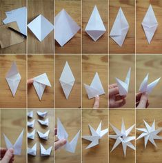 Stars or Christmas tree ornaments Snowflake Origami, Christmas Origami, Handmade Christmas, Christmas Diy, Origami Cube, Origami Paper Folding, Outdoor Christmas Tree Decorations, Christmas Tree Ornaments, Xmas Crafts
