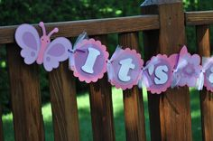 Butterfly Baby Shower Banner. $20.00, via Etsy.