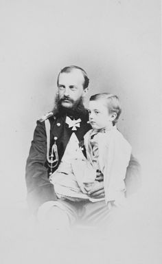 "Grand Duke Mikhail Nikolaevich Romanov of Russia with his son Mikhail. ""AL"""