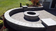 half circle sitting wall with firepit Half Circle, Koi, Landscapes, Sidewalk, Backyard, Wall, Outdoor Decor, Courtyards, Paisajes