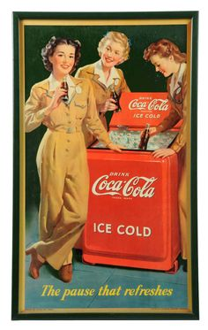 "March 30th Auction. 1943 Coca-Cola Small Vertical Poster. Framed under glass. Outstanding example with only minimal surface wear. Framed: 28-1/4"" x 17"". #CocaCola #Poster #MorphyAuctions"