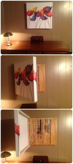 Hidden necklace storage. My husband made this for me for Mother's Day…LOVE IT!