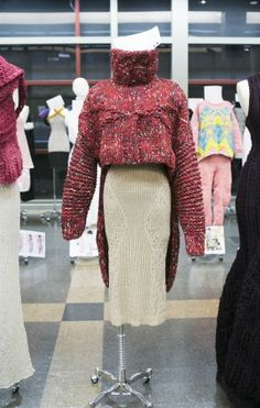 Knitwear designed by senior student Nick DeSimone at The Fashion Institute of Technology on display at FIT on Apr. 14, 2015. (Samira Bouaou/Epoch Times)