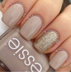 Nude Nails Manicure With Gold Glitter Nail Accent