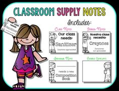 You are purchasing a set of notes that can be used to request additional supplies for your classroom.  Please check the preview for the wordings used.  I have also included Spanish notes as well as editable templates for you to use :-)  Please note that you must have PowerPoint in order to use the editable file.The pre-made notes are included in a PDF file and request:- Tissues- Disinfecting Wipes- Scissors- Sanitizer - Rulers- Pencils- Note Books- Composition Books- Markers- Dry Erase…