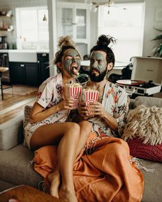 | @officiallyquigley | Today's agenda: face masks, matching top knots, and some serious couch time | Floral Robes | Floral Pajamas | Cute Couple Style | Beauty Rest Floral Pajama Set | Shop now at Yumikim.com |