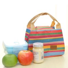 2016 New Fashion Portable Stripe lunch Bag Food Picnic Lunch Bags for Women kids Men Cooler Lunch Box Bag Tote