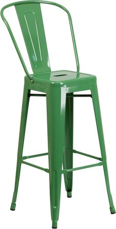 High Red Metal Indoor/Outdoor Counter Height Stool - Flash Furniture transform your living or restaurant space with this vintage style stool. Adding colorful chairs can rev up any setting. The versatility of this chair Counter Stools With Backs, Metal Counter Stools, Metal Stool, Outdoor Bar Stools, 24 Bar Stools, Patio Bar, Bar Chairs, Dining Chairs, Outdoor Dining