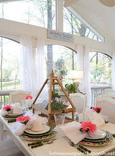 Easter Spring Table Setting With Greenhouse Centerpiece | http://betweennapsontheporch.net/easter-spring-table-setting-with-greenhouse-centerpiece/