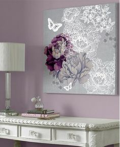 Bedroom inspiration. Purple, silver, and white.