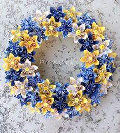 Happiness //Origami/Kusudama Paper Flower Wreath by kreationsbykia