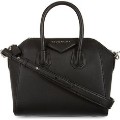 GIVENCHY Antigona mini leather tote ($1,450) ❤ liked on Polyvore featuring bags, handbags, tote bags, black, handbag tote, leather tote handbags, genuine leather purse, leather purses and mini purse