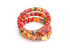 Colorful textile rope wrap bracelet fabric rope wrap by MyBeata