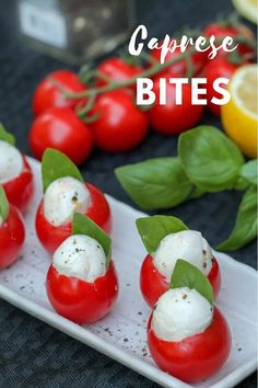 Grape-size tomatoes stuffed with fresh  mozzarella and basil make a tasty party appetizer or summer snack. Plus they're super easy to make. #tomatorecipes #appetizerrecipes #partyappetizer Light Appetizers, Italian Appetizers, Easy Appetizer Recipes, Appetizers For Party, Caprese Appetizer, Cold Appetizers, Caprese Salat, Tomate Mozzarella, Fresh Mozzarella