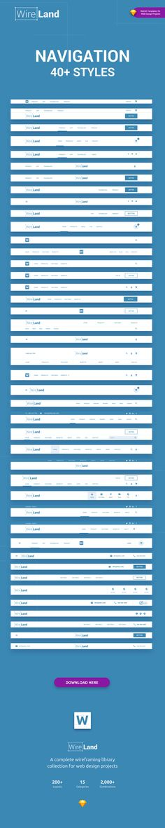 Wireland – is a Complete Wireframing Library Collection optimized to structure web design projects really fast and easy while getting great results. This library consist on 190+ ready-to-use layout sections divided into 15 popular content categories.  Excellent for Landing Pages and any kind of Web design Projects.  Web Navigation, Navbar, Header Styles. #WebDesignService