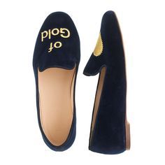 J.Crew girls' heart-of-gold Darby loafer in navy.